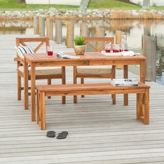 Acacia Wood Simple Patio 4-Piece Dining Set w/ x-shaped back - Brown