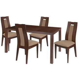 Beckham 5 Piece Wood Dining Table Set with Curved Slat Wood Dining Chairs - Padded Seats