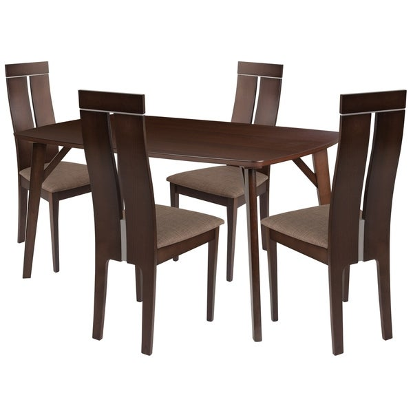 Graham 5 Piece Wood Dining Table Set With Clean Line Chairs Padded Seats