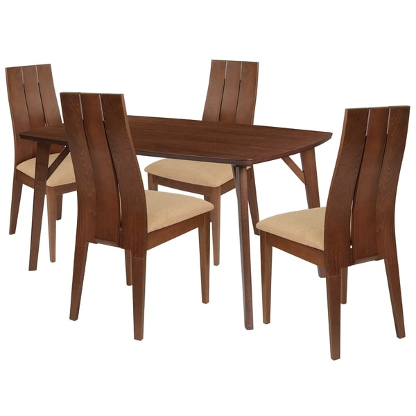 Dearborn 5 Piece Wood Dining Table Set With Wide Slat Back Wood Dining  Chairs   Padded