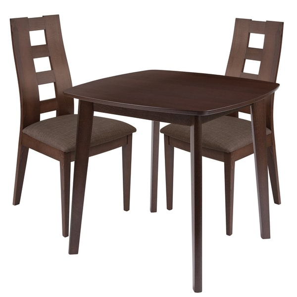 Cranston 3 Piece Wood Dining Table Set With Window Pane Back Chairs Padded