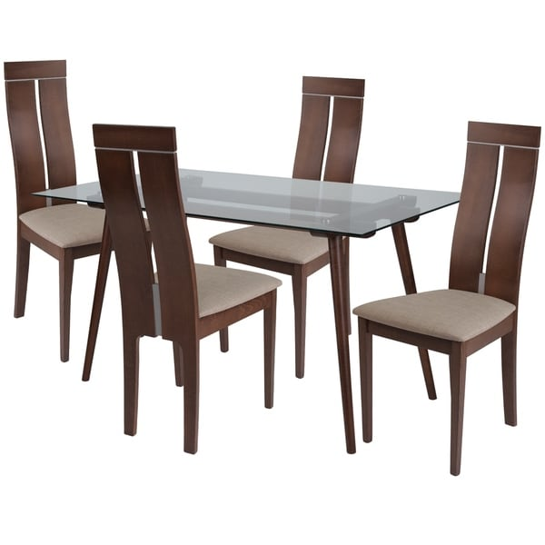 Shop Roseville 5 Piece Wood Dining Table Set With Glass