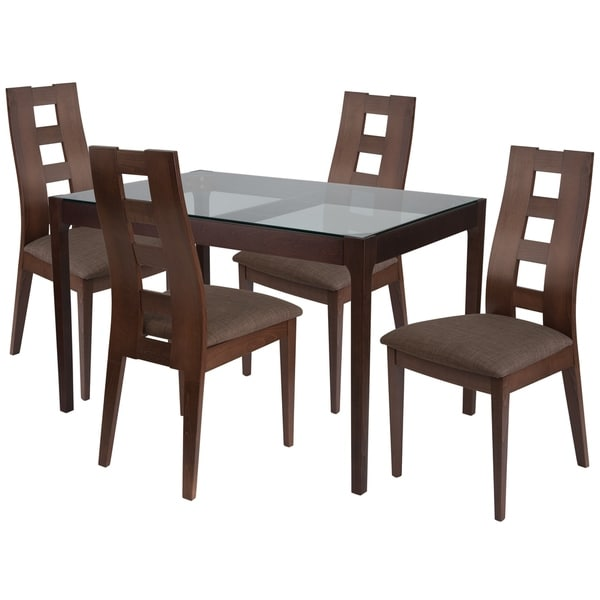 Shop Hollister 5 Piece Wood Dining Table Set With Glass