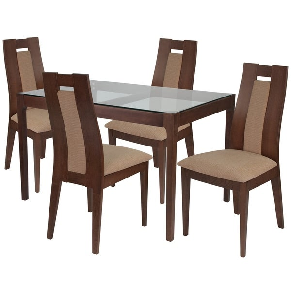 Shop Bishop 5 Piece Wood Dining Table Set With Glass Top