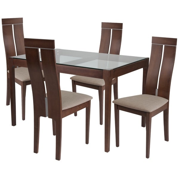 Montclair 5 Piece Wood Dining Table Set With Gl Top And Clean Line Chairs