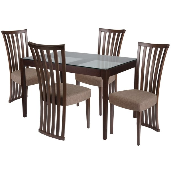 Shop Oakdale 5 Piece Wood Dining Table Set With Glass Top