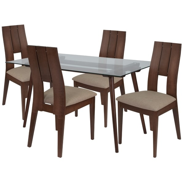 Shop Carson 5 Piece Wood Dining Table Set With Glass Top
