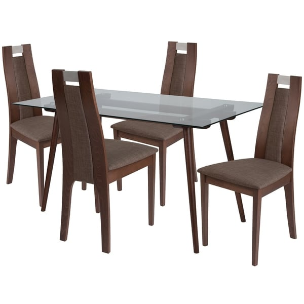Shop Fairview 5 Piece Wood Dining Table Set With Glass Top