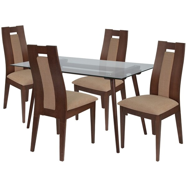 Shop Newman 5 Piece Wood Dining Table Set With Glass Top
