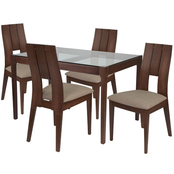 Shop Winslow 5 Piece Wood Dining Table Set With Glass Top