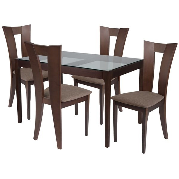 Shop Livingston 5 Piece Wood Dining Table Set With Glass