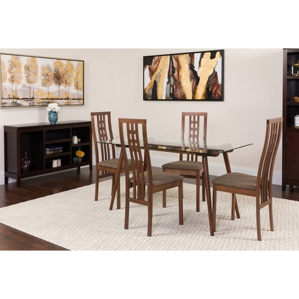 Shop Orland 5 Piece Wood Dining Table Set With Glass Top And