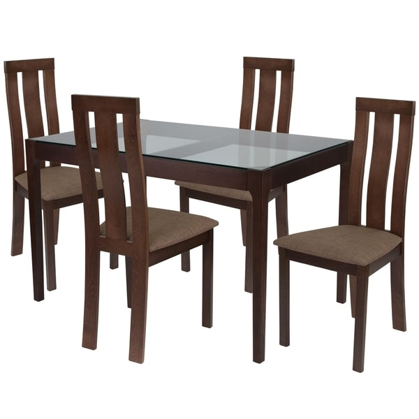 Shop Gridley 5 Piece Wood Dining Table Set With Glass Top