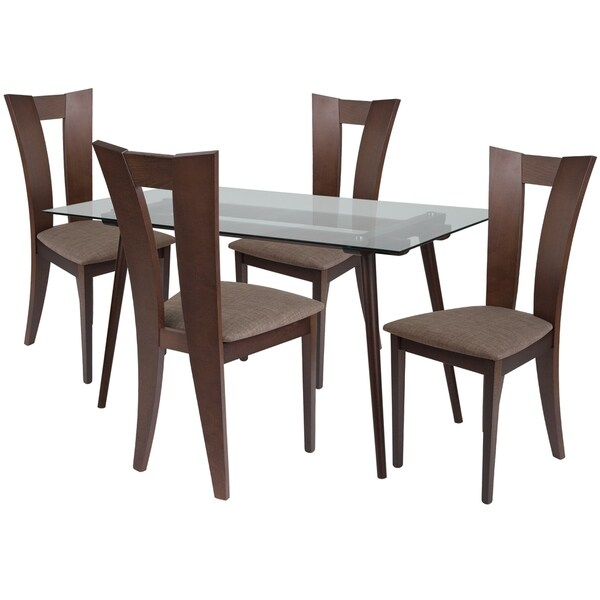 Shop Parlier 5 Piece Wood Dining Table Set With Glass Top
