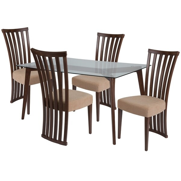 Shop Monterey 5 Piece Wood Dining Table Set With Glass Top