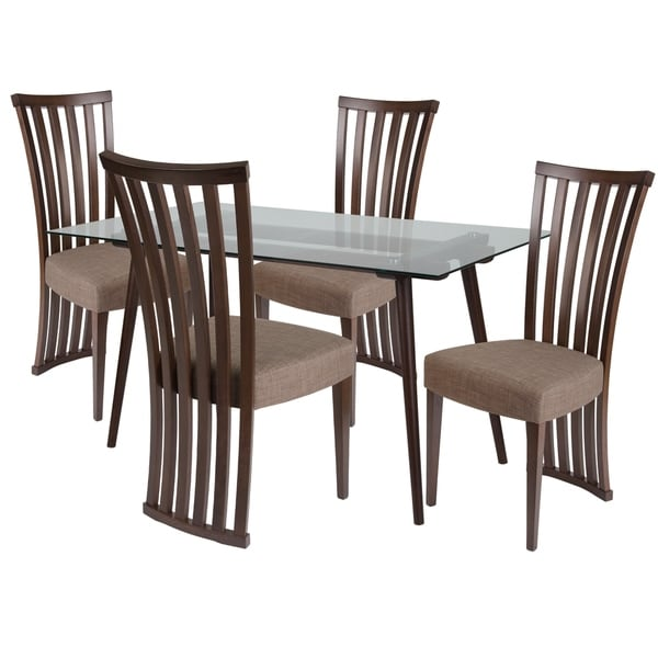 Shop Lakewood 5 Piece Wood Dining Table Set With Glass Top