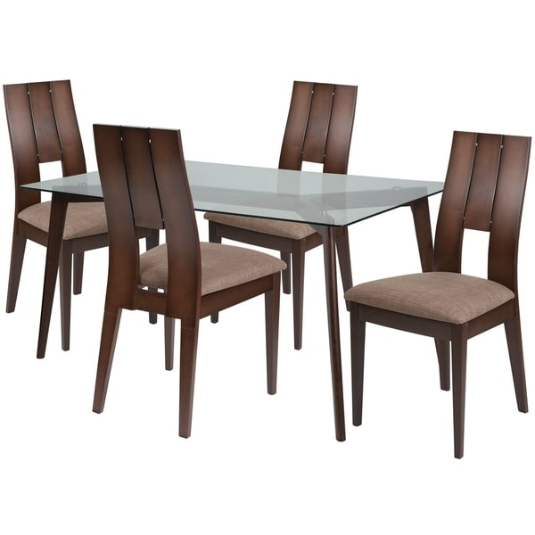 Shop Rialto 5 Piece Wood Dining Table Set With Glass Top