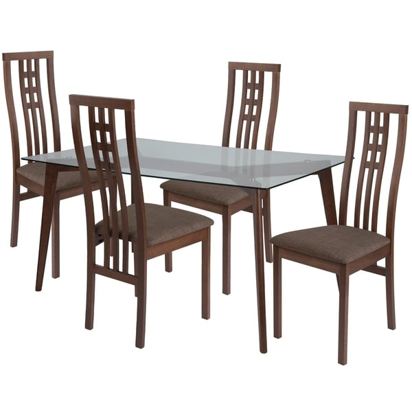 High Top Dining Table Set: Shop Clearview 5 Piece Wood Dining Table Set With Glass