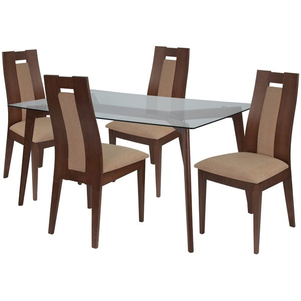 Shop Lincoln 5 Piece Wood Dining Table Set With Glass Top