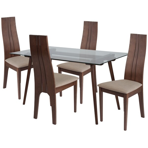 Groovy Concord 5 Piece Wood Dining Table Set With Glass Top And Padded Wood Dining Chairs Download Free Architecture Designs Scobabritishbridgeorg
