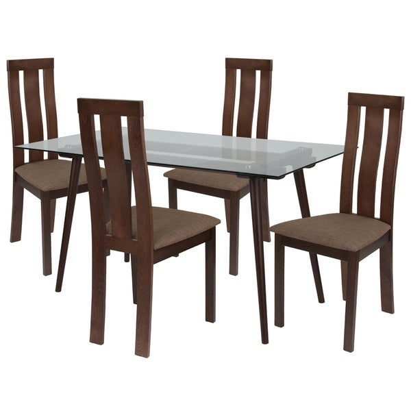 Shop Lindsay 5 Piece Wood Dining Table Set With Glass Top