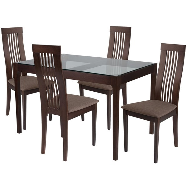Shop Imperial 5 Piece Wood Dining Table Set With Glass Top