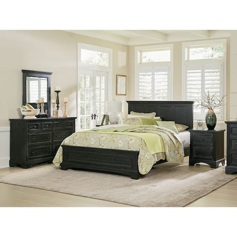 Farmhouse Basics King Bedroom Set with 2 Nightstands, 1 Dresser and 1 Mirror