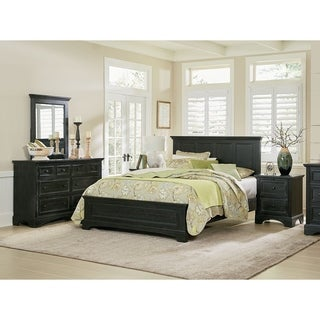 OSP Home Furnishings Farmhouse Basics King Bedroom Set with 2 Nightstands, 1 Dresser and 1 Mirror