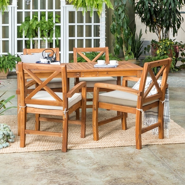 Shop 5 Piece Acacia Outdoor Dining Set Brown Free Shipping Today