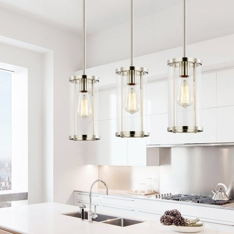 Light Society Zurich Satin Nickel and Clear Glass Pendant Light