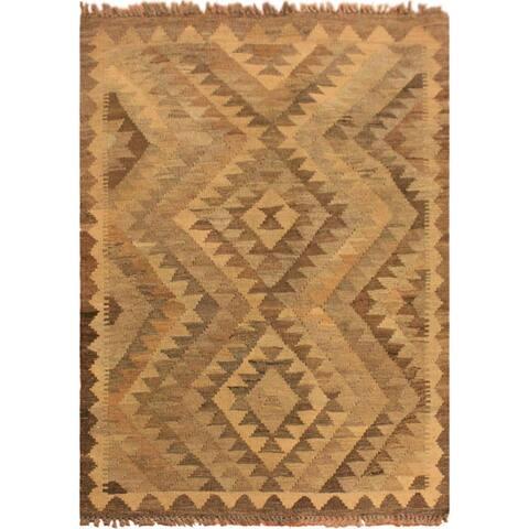 "Kilim Vespera Gray/Brown Hand-Woven Wool Rug (2'9 x 4'0) - 3' 4"" x 6' 5"""