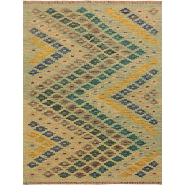Lime Green And Blue Rug: Shop Kilim Brittny Lime Green/Blue Hand-Woven Wool Rug (2