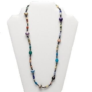 Handmade Recycled Paper Bead Tefula Necklace Long MultiColor (Uganda)