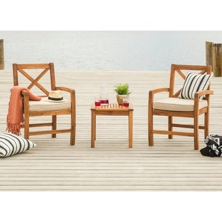 Acacia Wood Patio Chairs and Side Table w/ cross design - Brown