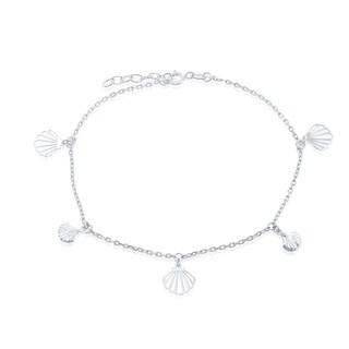 La Preciosa Sterling Silver Alternating Flat& Puffed Seashell 9+1'' Anklet