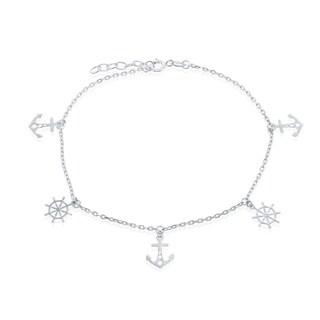 La Preciosa Sterling Silver Alternating Anchor and Ship Wheel 9+1'' Anklet