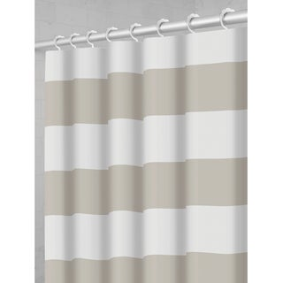 Maytex Porter Stripe Fabric Shower Curtain with Attached Hooks