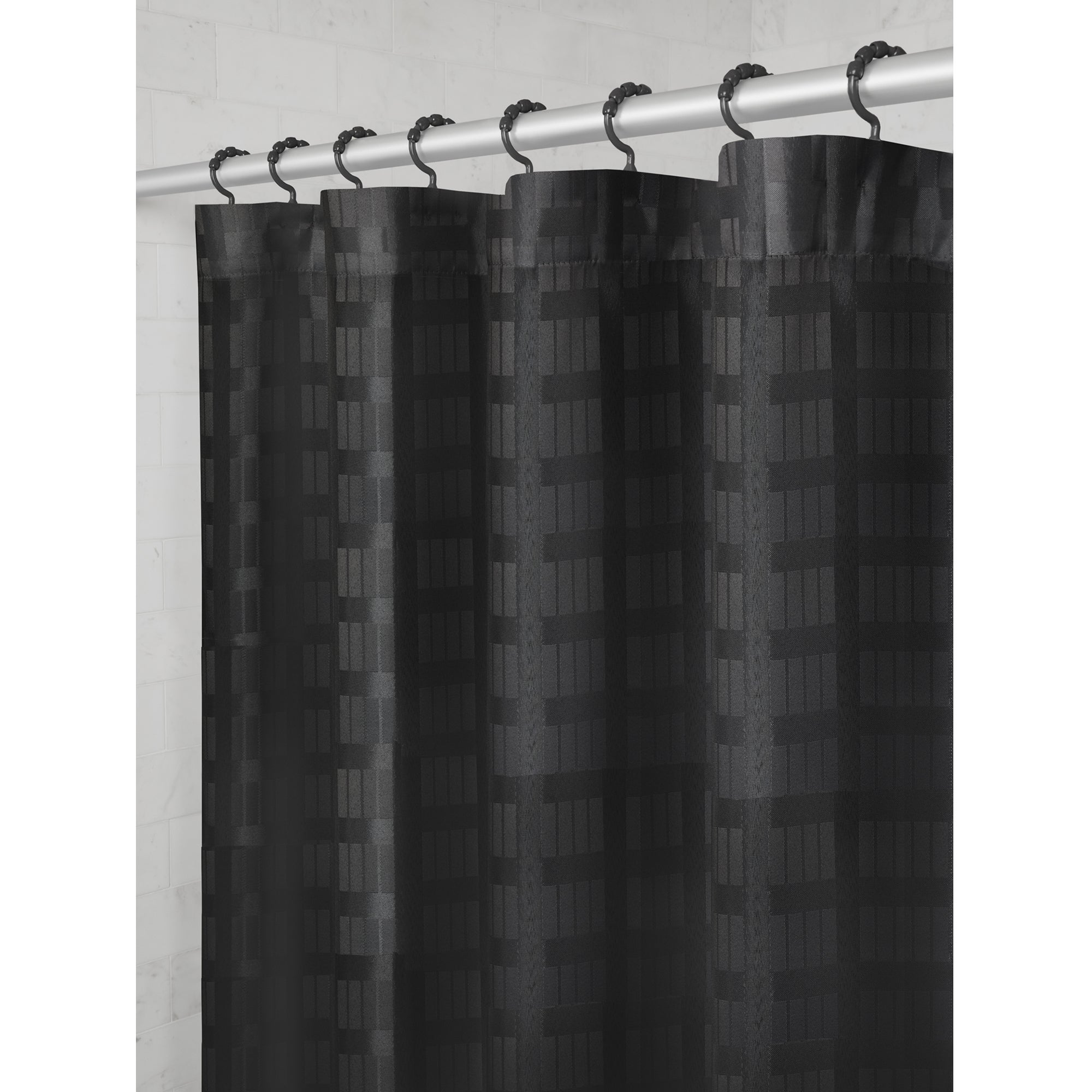 Maytex Madison Fabric Shower Curtain With Attached Roller Glide Hooks