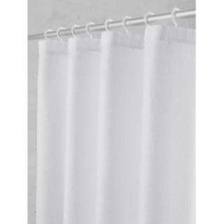 Maytex Textured Waffle Fabric Shower Curtain with Attached Glide Hooks