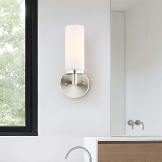 Light Society Andover Satin Nickel and Frosted Glass Upright Mini Wall Sconce