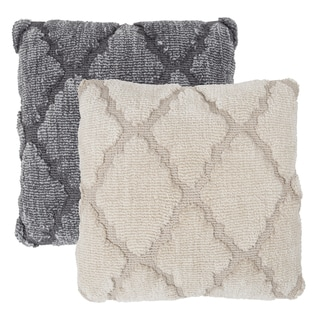 """Windsor Home Geometric Textured Decorative Throw Pillow and Insert- Lattice Trellis 18"""" Accent Pillow with Invisible Zipper"""
