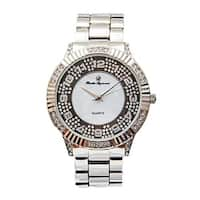 The Hip Hop Rapper Rolly Bling Bling look Iced Out Status Round Ivory look Silver Rich Watch. -