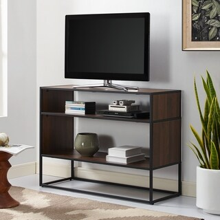"40"" Metal and Wood Open Shelf Storage Console - 40 x 16 x 30h"
