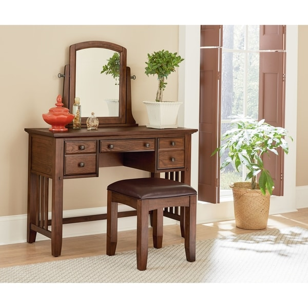 INSPIRED By Bassett Modern Mission Bedroom Vanity And Mirror Set   Bench  Included