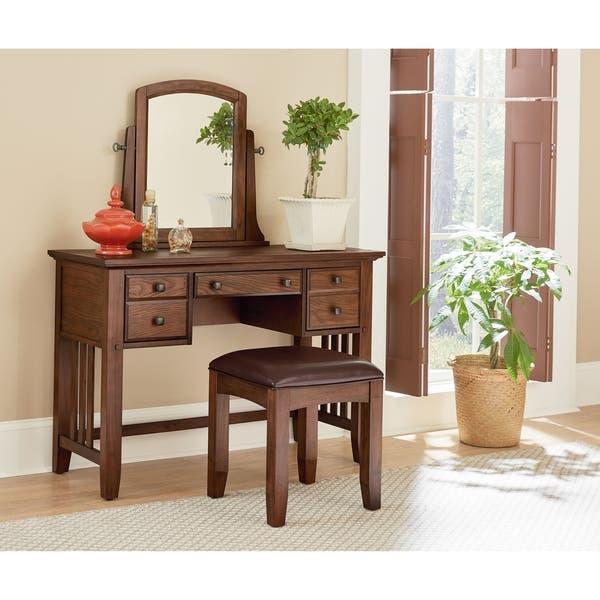 Shop Modern Mission Bedroom Vanity and Mirror set - Bench ...