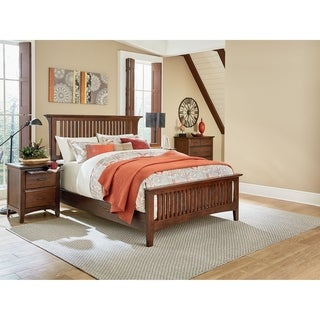 INSPIRED by Bassett Modern Mission Queen Bedroom Set with 2 Nightstands and 1 Chest