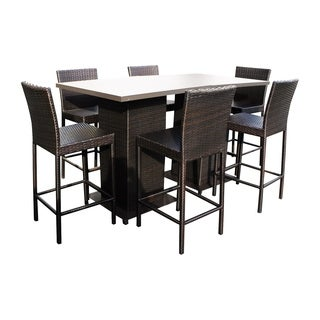 Provence OH0550 Outdoor Patio Wicker Pub Set with 2 Tables and 6 Bar Stools