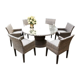 Sea Breeze OH0606 Outdoor Patio Wicker Dining Set with 6 Arm Chairs