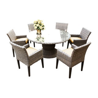 Sea Breeze OH0606 Outdoor Patio Wicker Dining Set with 6 Arm Chairs (Option: YELLOW)