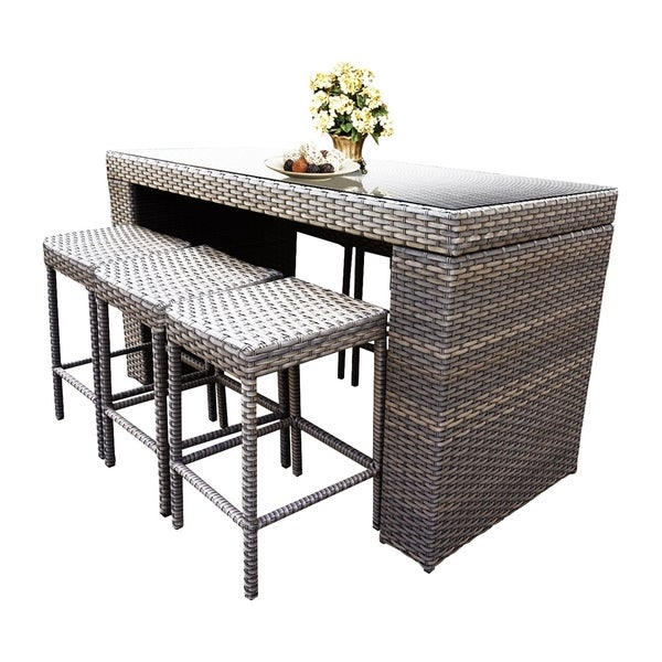 Sea Breeze Oh0610 Outdoor Patio Wicker Bar Set With 6 Backless Stools Free Shipping Today 21163300